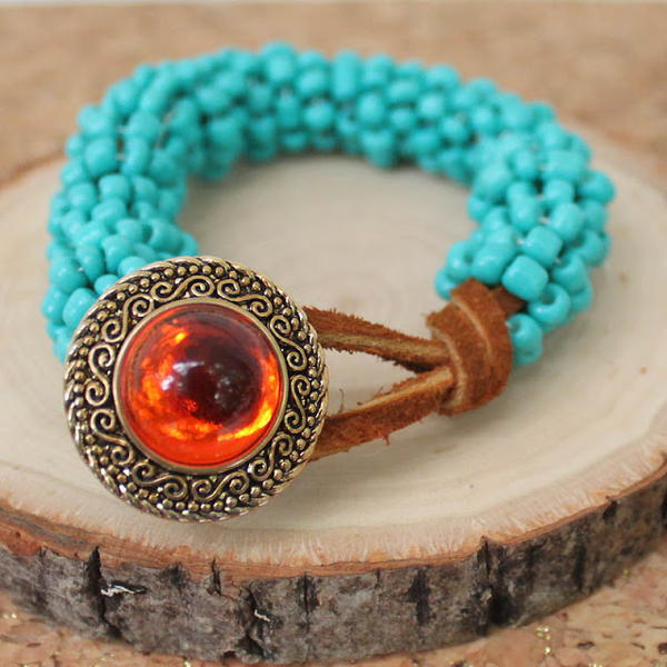 Turquoise Fantasy Leather Bracelet