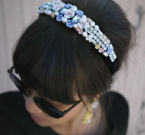 Rose and Rhinestone Fashion Headband
