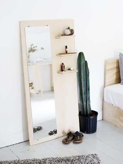 DIY Plywood Shelf and Mirror
