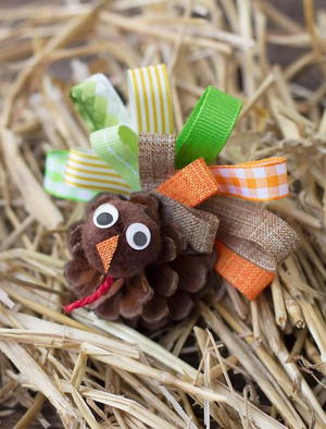 Scrap Ribbon Pine Cone Turkeys