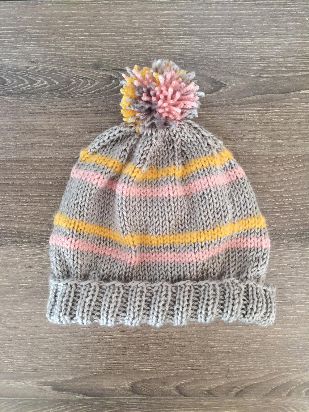Striped Pom Pom Beanie Allfreeknitting Com