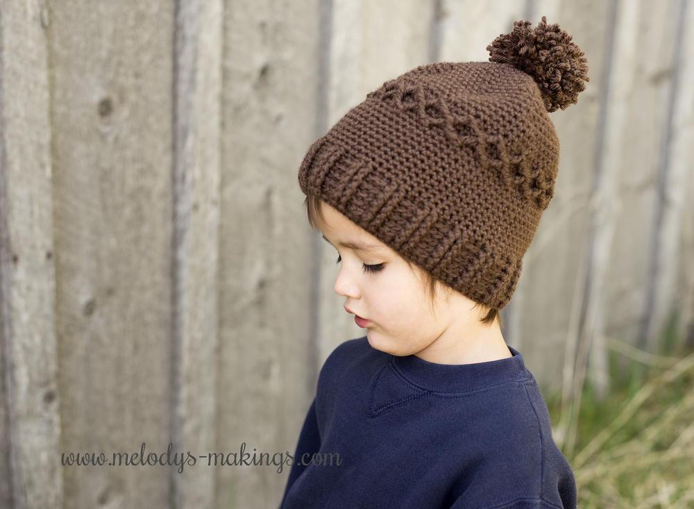 Slouchy Knit or Crochet Diamond Cap