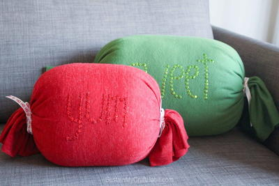 No Sew Candy Throw Pillows