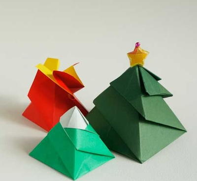 Christmas Tree Origami Gift Box