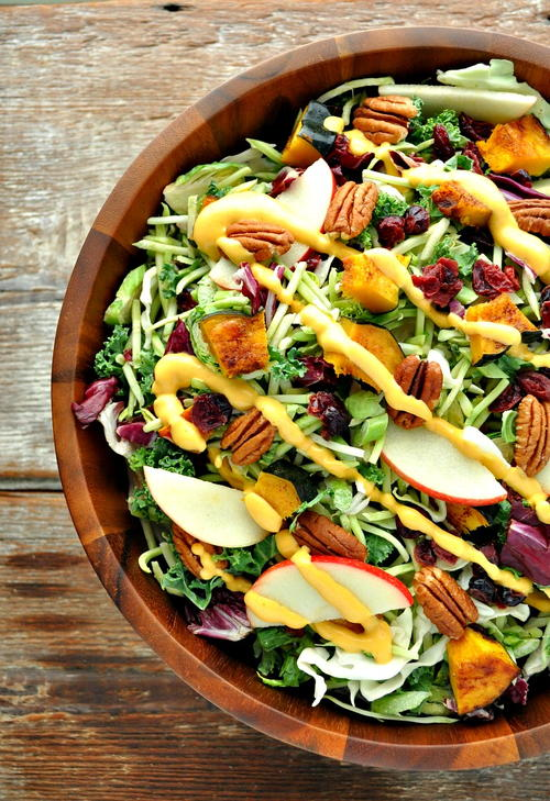 Fall Harvest Salad with Pumpkin Dressing