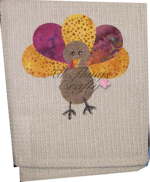 Turkey Applique Thanksgiving Towel