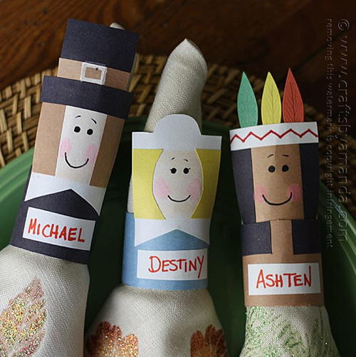 Thanksgiving Napkin Rings and Placecards