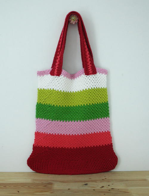 Striped Crochet Market Bag