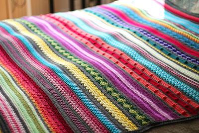 Knitting Pattern Rainbow Blanket : Rainbow Sampler Blanket AllFreeCrochet.com