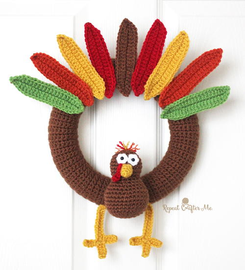 Cute Turkey Crochet Wreath