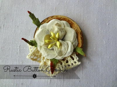 Rustic Button Brooch