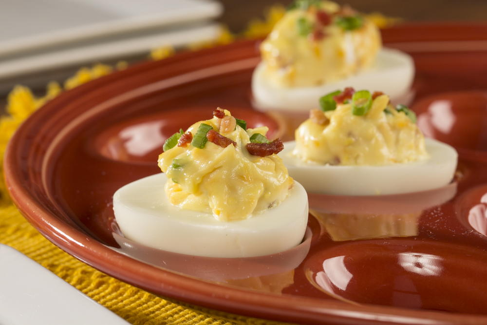 Bacon Cheddar Deviled Eggs | EverydayDiabeticRecipes.com