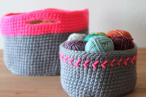 Touch of Neon Crochet Baskets
