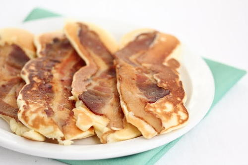 Bisquick pancakes with bacon