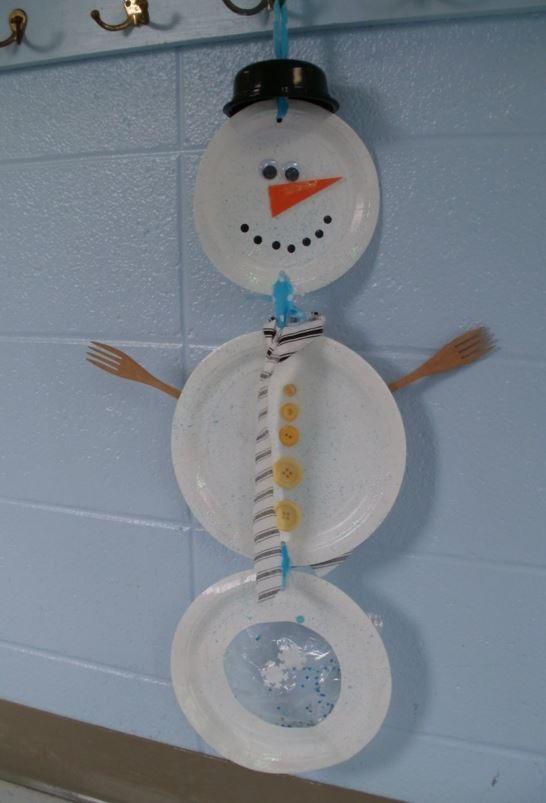 Hanging Paper Plate Snowman Allfreekidscrafts Com