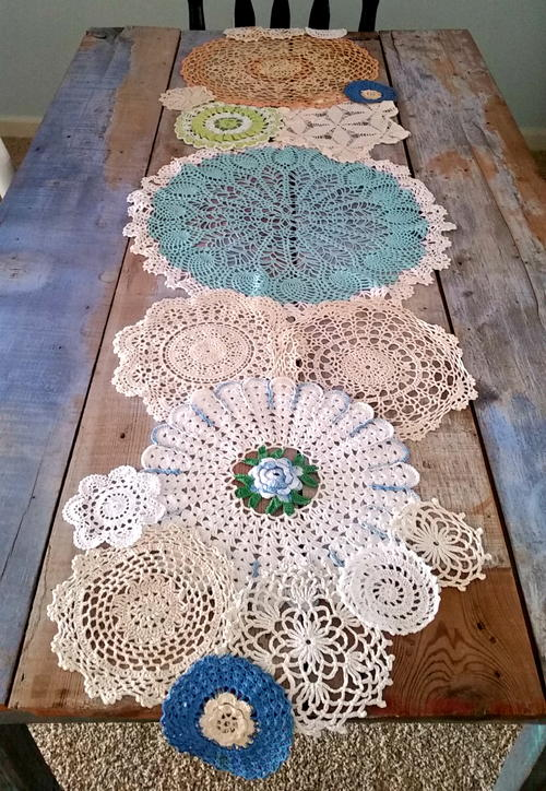 Spring Has Sprung Doily Table Runner