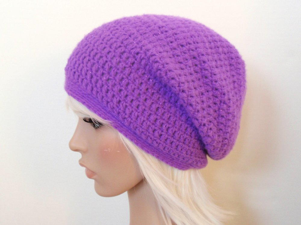 Free Crochet Pattern For Mens Slouchy Beanie : Easy Slouchy Beanie AllFreeCrochet.com