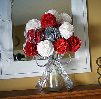 Tissue Paper Flowers Christmas Bouquet