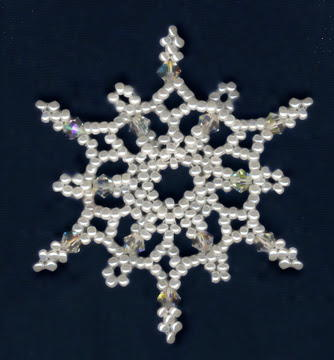 Falling Snowflake Beaded Ornament