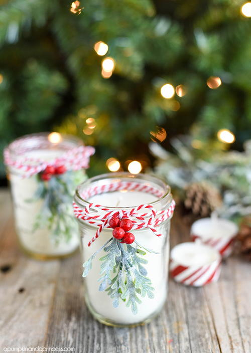 Diy Christmas Mason Jar Candle Allfreechristmascrafts Com