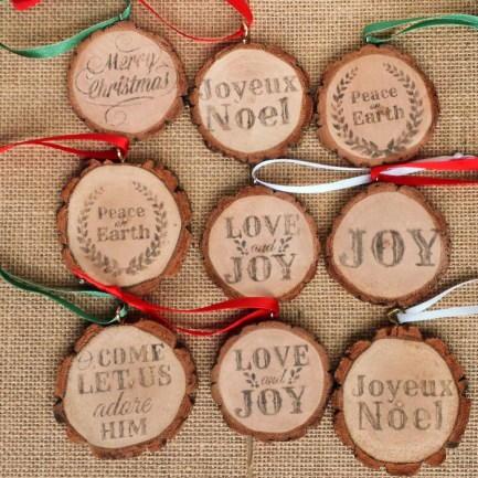 Rustic Wood Slice Ornaments | AllFreeChristmasCrafts