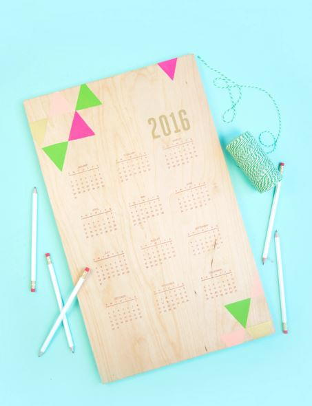 Hand Stamped Wood Calendar