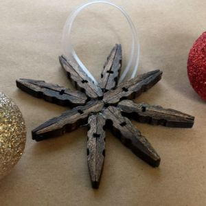 Rustic Clothespin Snowflake Ornaments