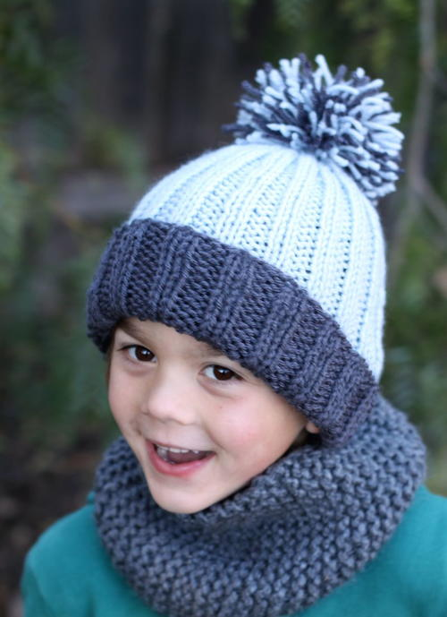 Beginner Easy Ribbed Pom Hat  a8b5b378d2e