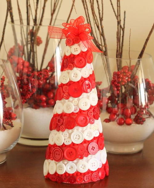 Candy Cane Button Tabletop Tree