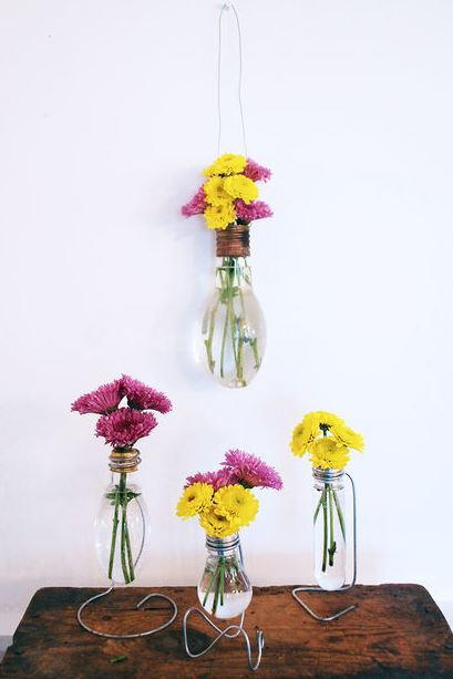 Cute Recycled Light Bulb Vase