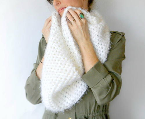 Powdered Sugar Crochet Scarf