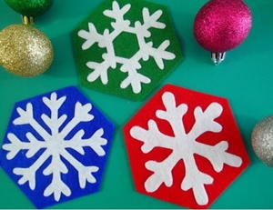 Easy Snowflake Coasters to Sew