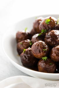 5 Ingredient Cranberry Glazed Slow Cooker Meatballs