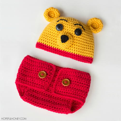 Winnie The Pooh Inspired Hat  Diaper Cover Set