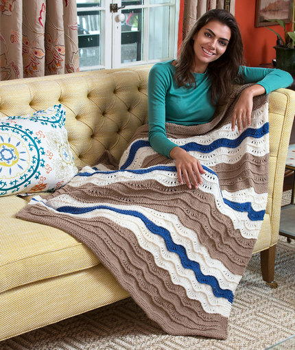 Wonderfully Wavy Knit Throw