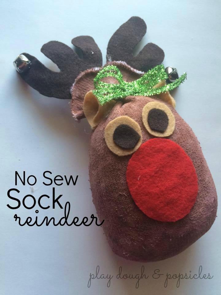 No Sew Sock Reindeer Allfreeholidaycrafts Com