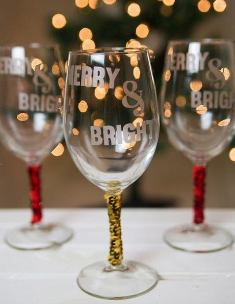 Merry and Bright DIY Wine Glass