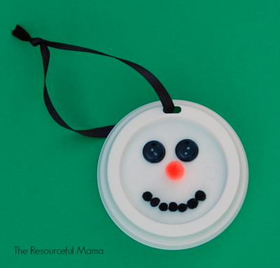 Coffee Cup Lid Snowman Ornament