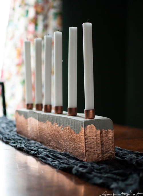 DIY Cement & Copper Candle Centerpiece_1