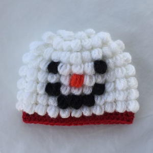 Puff Stitch Snowman Baby Hat Pattern