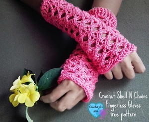 Crochet Shell n Chains Fingerless Gloves