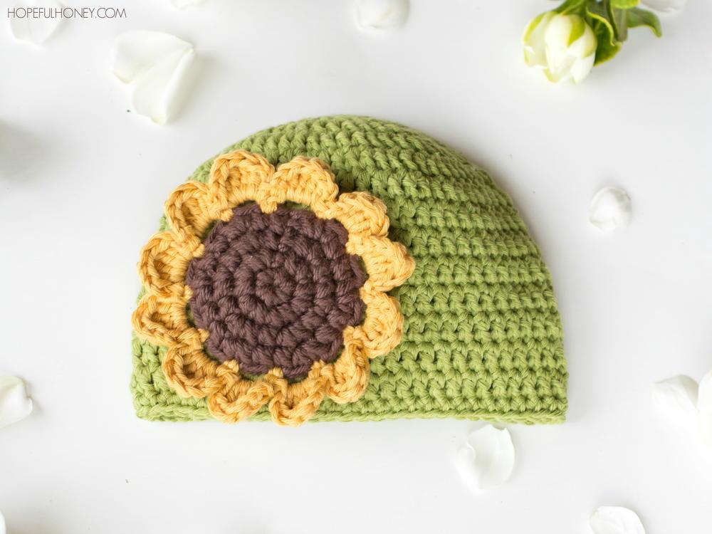 Sunflower Crochet Baby Hat Allfreecrochet