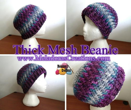Thick Mesh Stitch Beanie | AllFreeCrochet com