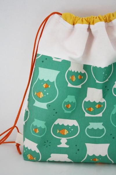 fishy diy drawstring backpack