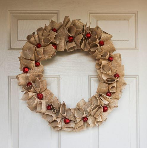 Festive Red Bell Burlap Diy Wreath