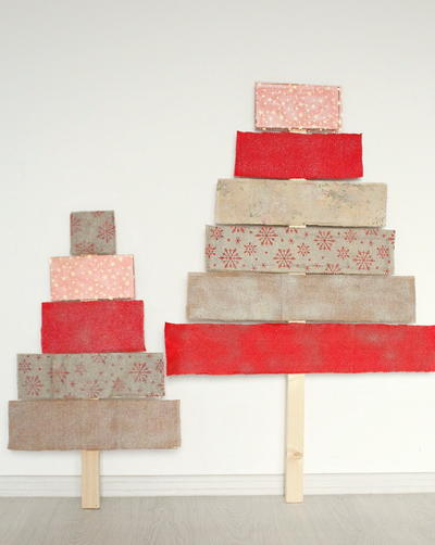 Festive Fabric Covered Plywood Christmas Tree