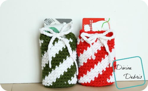 Candy cane inspired drawstring gift card holder bag