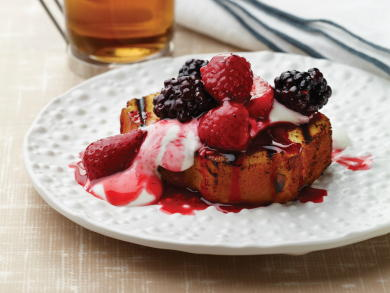 EDR Grilled Angel Food Cake With Melted Berries