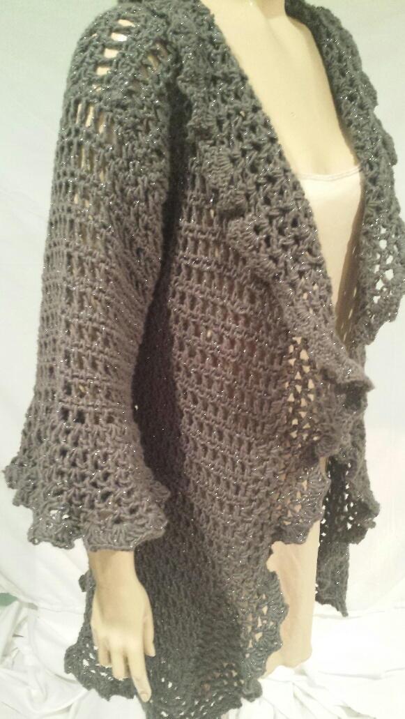 Free Crochet Cardi Wrap Pattern : Romantic Ruffled Cardigan AllFreeCrochet.com