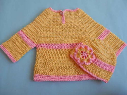 Crochet Baby Sweater and Hat_1